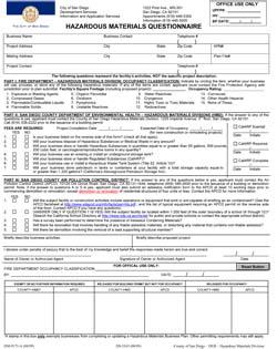 Hazmat Questionnaire